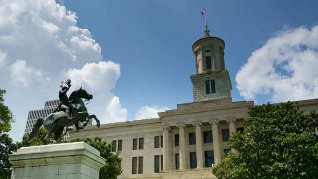 Clouds roll across the sky above the William Strickland Capitol building and the Clark Mills' equestrian statue of Andrew Jackson in downtown Nashville, Tennessee.
