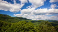 Clouds Roll Past Scenic Mountains of Blue Ridge Parkway in Asheville, North Carolina - Time Lapse