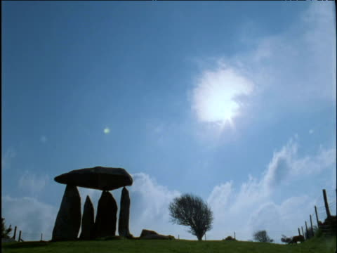 Clouds scud over Pentre Ifan ancient dolmen