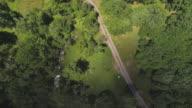 Wolken schaduwen verplaatsen op het land. De luchtfoto drone weergave naar het bos in de Pocono Mountains op de zonnige zomerdag.