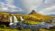 T/L 8K Cloudscape over Kirkjufellsfoss waterfall