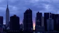 Cloudy Manhattanhenge Panorama in New York City