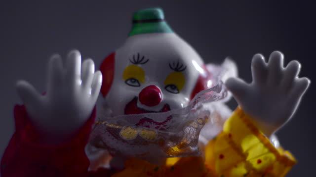 A clown doll in spooky lighting