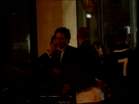 cLTN LIB NO RESALE FRANCE Paris INT TV presenter Ulrika Jonsson drinking beer in bar and spilling a large amount down her chin EXT AT NIGHT Former...