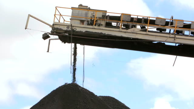 Coal conveyor loading a coal pile.