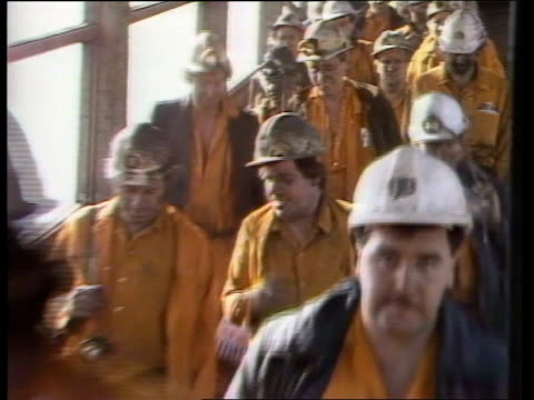 NUM faces splits over overtime ban ULM North Yorkshire Selby Wistow Colliery MS Miners TOWARDS down steps off shift BV Interior control room men at...
