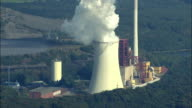 AERIAL Coal fired power station / Quierschied-Weiher, Saarland, Germany