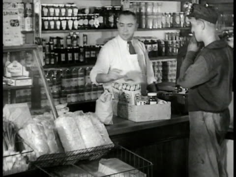 Coal miner at general store counter w/ groceries Coal miner drining beer at bar w/ others