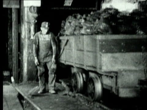 1927 B/W WS Coal miner workers moving mine cart filled with bituminous coal in for unloading/ Pennsylvania, USA