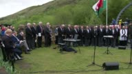 Cambrian Colliery Disaster 50th anniversary Memorial service WALES Rhondda Valley EXT Bells ringing followed by moment of silence at Cambrian...
