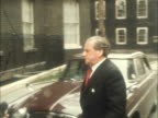 General Secretary of TUC ENGLAND London 10 Downing Street MS Feather into No10 from car LR poses in EKT 16mm ITN Tx15272/NAT