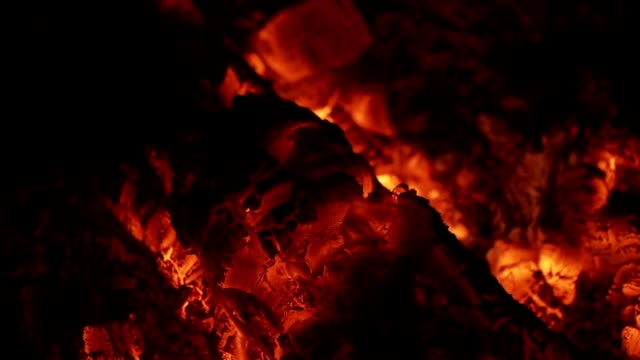 Coals of firewood burning inside of furnace