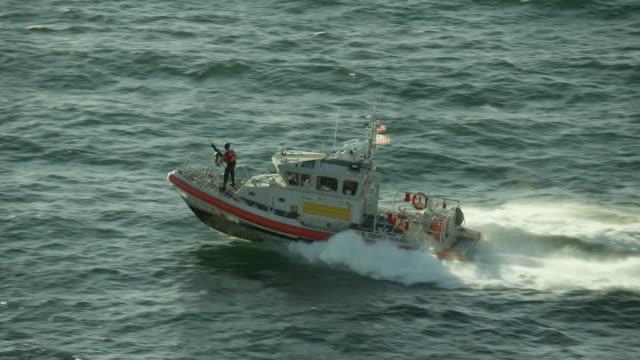 US Coast Guard Boat Powers Through Water