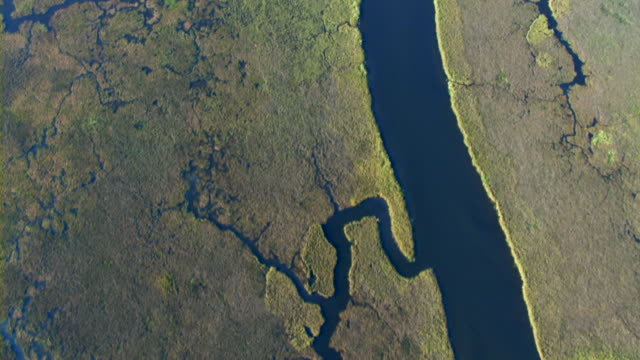 Coastal streams snake through grassy marshes along the Gulf Islands National Seashore in Mississippi.