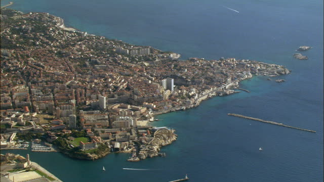 AERIAL Coastline and boats/ Marseilles, France