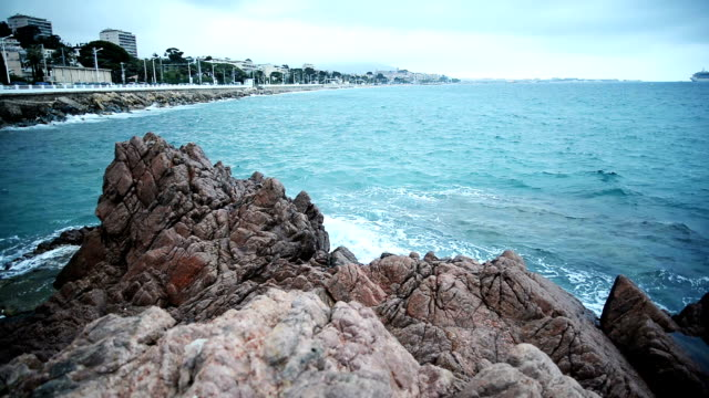Coastline of Cannes. Slow motion.