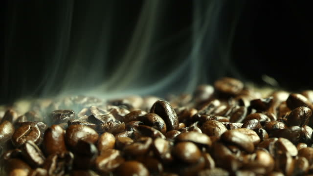 Coffee beans and steam