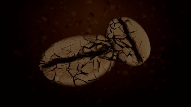 coffee beans grinder closeup of dark background.Slow motion 3D rendering