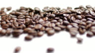 Coffee Beans on white table background with white space , dolly shot right to left