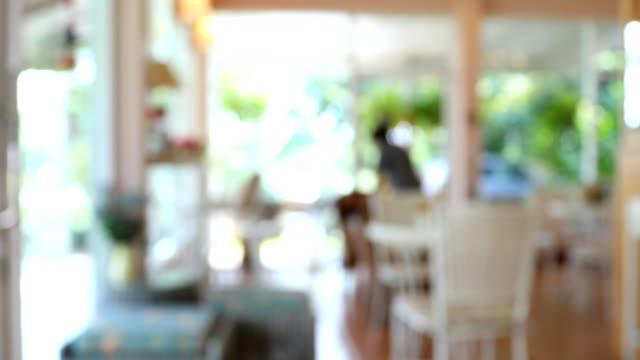 coffee cafe scene, blur shot 4k