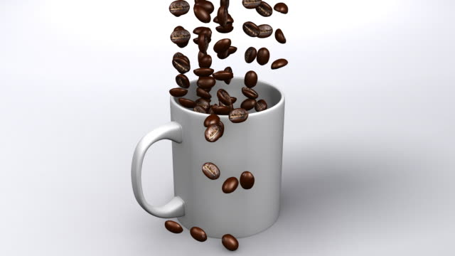 Coffee Cup with falling beans