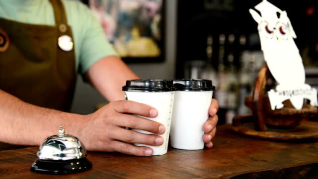 Coffee in paper hot cups