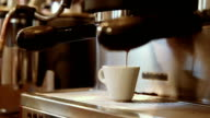 Coffee is made on the espresso machine