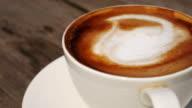 Coffee latte art at coffee shop , 4k resolution , UHD