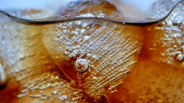 cola with ice close-up