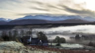 Cold and Misty Morning in Scottish Highland Village - Time Lapse