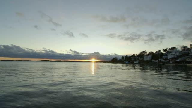 Cold sunset at the sea horizon