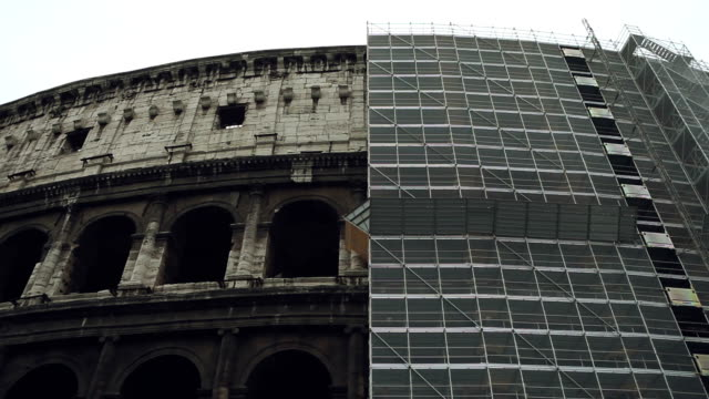 Coliseum renovation, covered by scaffolding