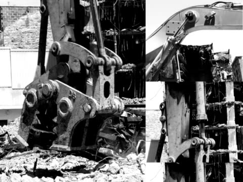 B&W collage of heavy machinery images