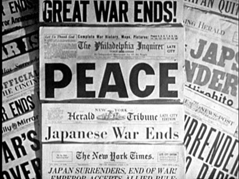 1945 B/W CU ZI Collage of newspaper headlines declaring end of WWII / United States