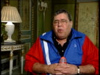 Collapses backstage at charity show in London LIB London Jerry Lewis interview SOT talks about why he still performs
