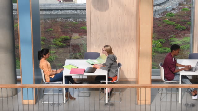 College students sitting at tables and studying from high angle