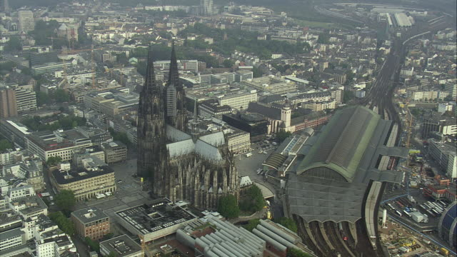 AERIAL Cologne cathedral and Central Station, North Rhine-Westphalia, Germany