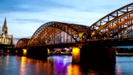 Kölner Dom in der Nacht-Zeitraffer