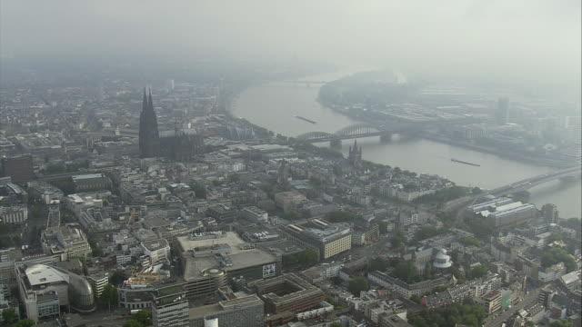 AERIAL Cologne, hazy day, North Rhine-Westphalia, Germany