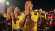 MS Colombia fans celebrate a victory at the FIFA Fan Fest on Copacabanaa Beach on June 24 2014 in Rio de Janeiro Brazil