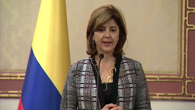 Colombian Foreign Minister Maria Angela Holguin speaks during a press conference with Turkish Foreign Minister Mevlut Cavusoglu in Istanbul Turkey on...
