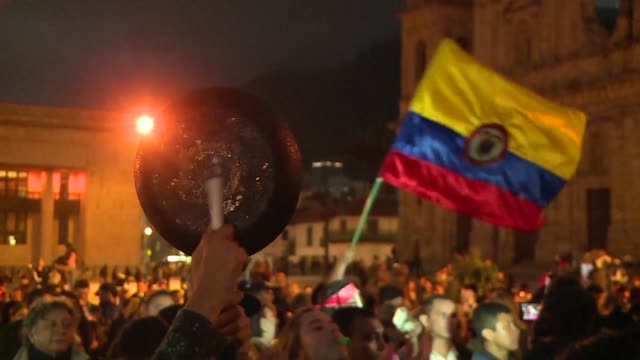 Colombians protest in Bogota for prompt approval by Congress of legislation to set out the rules for the Special Peace Jurisdiction an extraordinary...