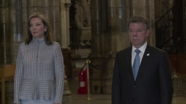 Colombia's President Juan Manuel Santos who last month won the Nobel Peace Prize for his efforts to end the half century war with FARC rebels lays a...