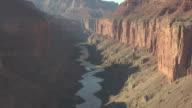 WS AERIAL TD Colorado River in Zuni Point Corridor and tourist raft in Colorado River in Grand Canyon / Arizona, United States