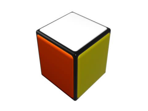 Colored cube spinning