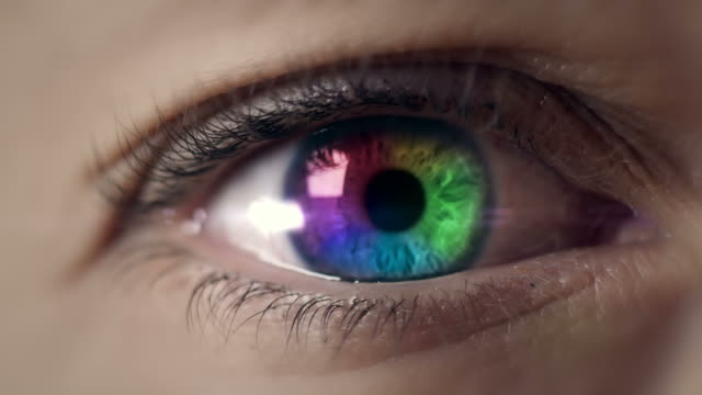 Colored eye macro shot