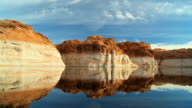 WS POV ZI Colored layers in rocks of lake showing dropping water levels  / ARIZONA,United States