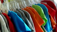 Colored T-shirts in the store