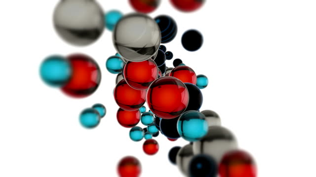 Colorful 3D Glass Spheres Floating In The Air