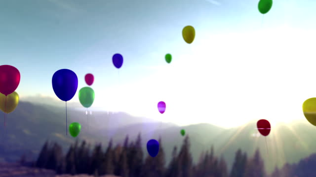 Colorful balloons flying in the beautiful sky